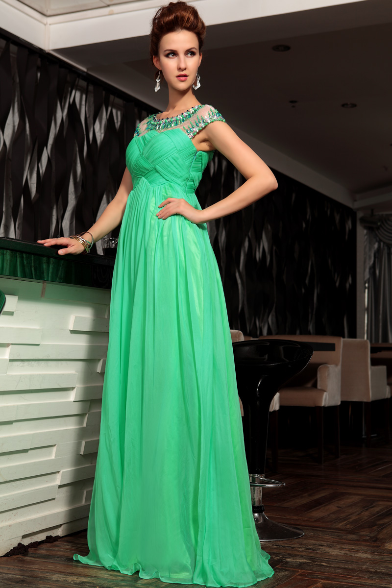 Green Beaded One Shoulder Prom Dress Evening Gown - TheCelebrityDresses