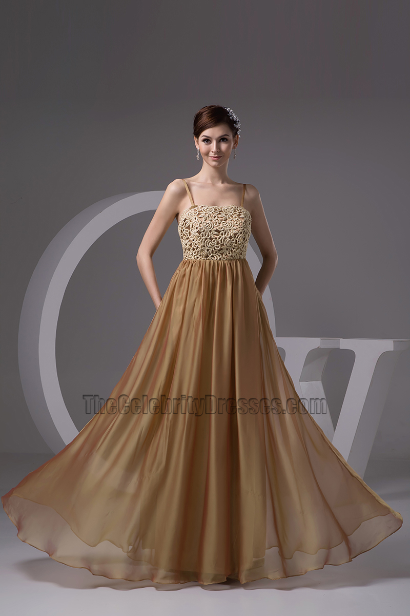 Gorgeous Brown Spaghetti Straps Formal Dress Evening Gown ...