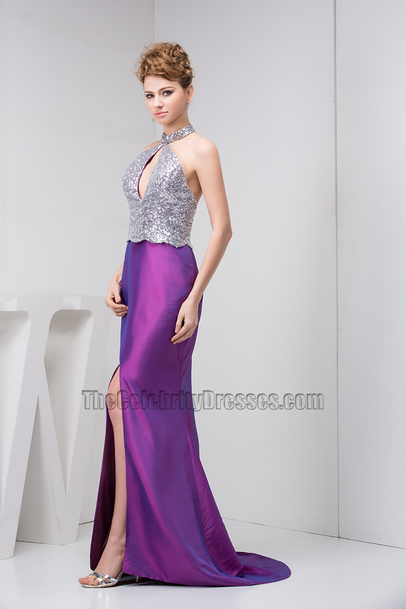 Gorgeous Halter Silver And Purple Mermaid Formal Prom Dresses ...