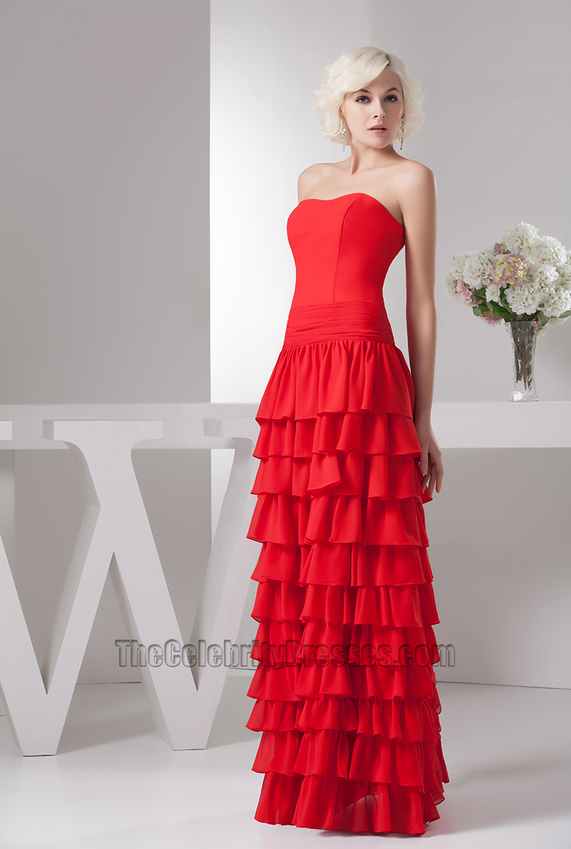 Gorgeous Red Strapless Chiffon Ruffles Formal Dress Evening Gown ...