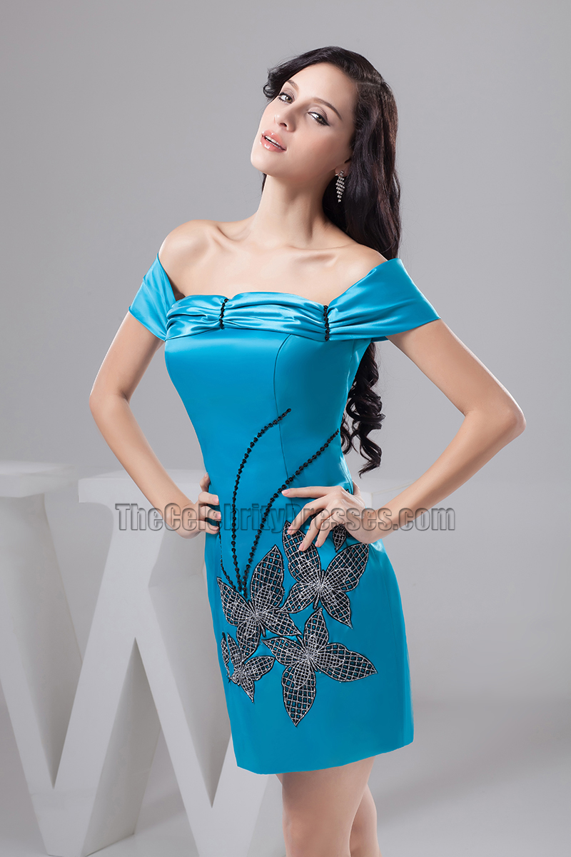 Gorgeous Short Blue Off-The-Shoulder Party Homecoming Dresses ...