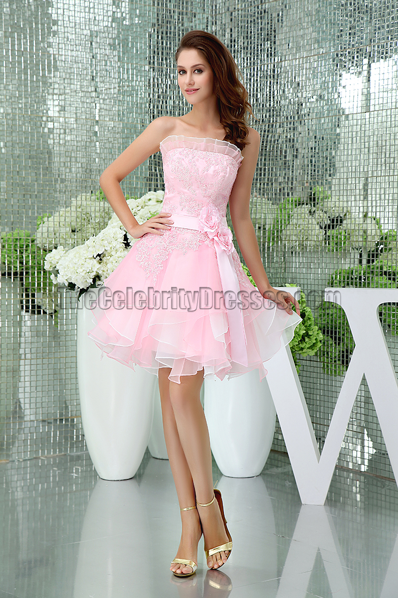 Gorgeous Short Pink Strapless Organza Party Homecoming Dresses ...