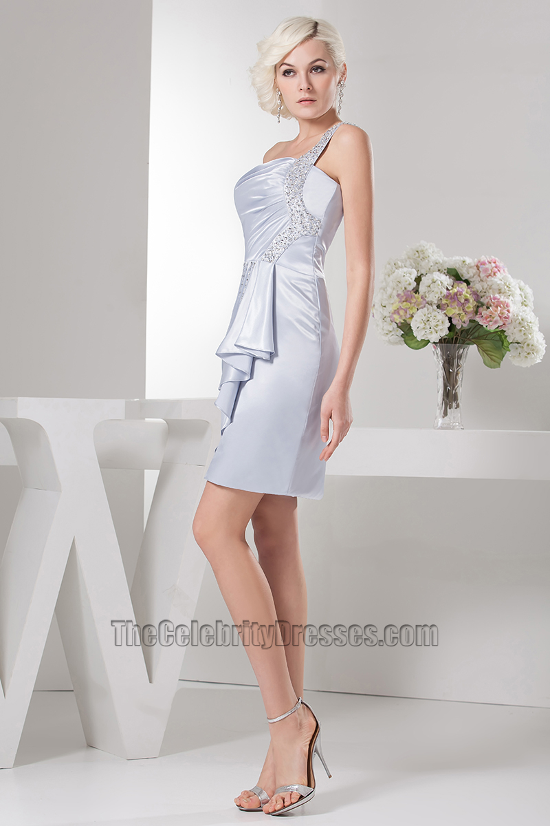 4a5f3562113 Gorgeous Short Silver One Shoulder Cocktail Party Dresses -  TheCelebrityDresses