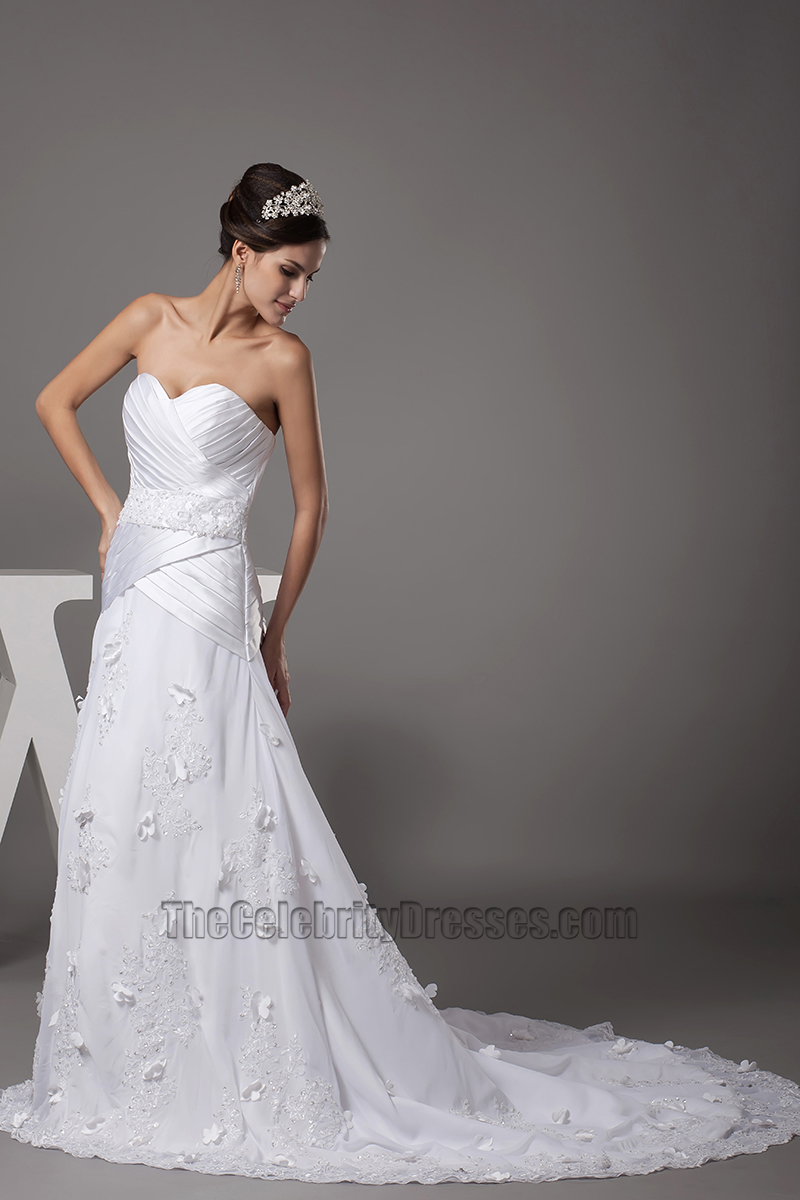 Gorgeous Strapless Sweetheart A Line Lace Up Back Wedding Dress    TheCelebrityDresses