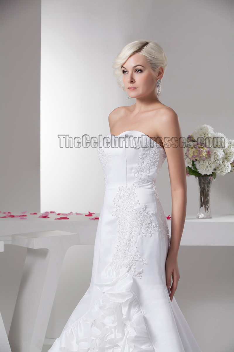 Gorgeous sweetheart strapless ruffles mermaid wedding for Mermaid wedding dress with ruffles