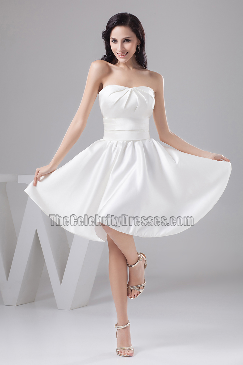 White dress cocktail party - Gorgeous White Strapless Sweetheart A Line Cocktail Party Dress Thecelebritydresses