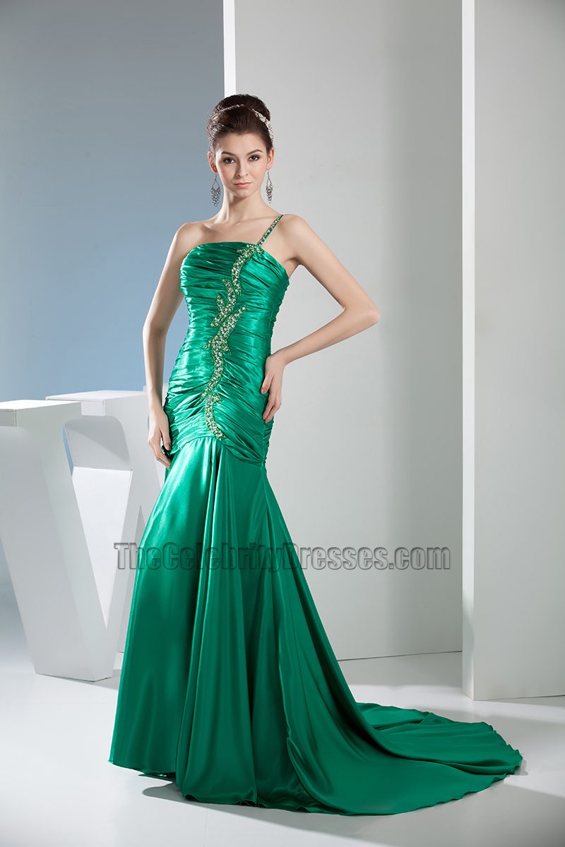 Green One Shoulder Mermaid Formal Dress Prom Evening Gown ...