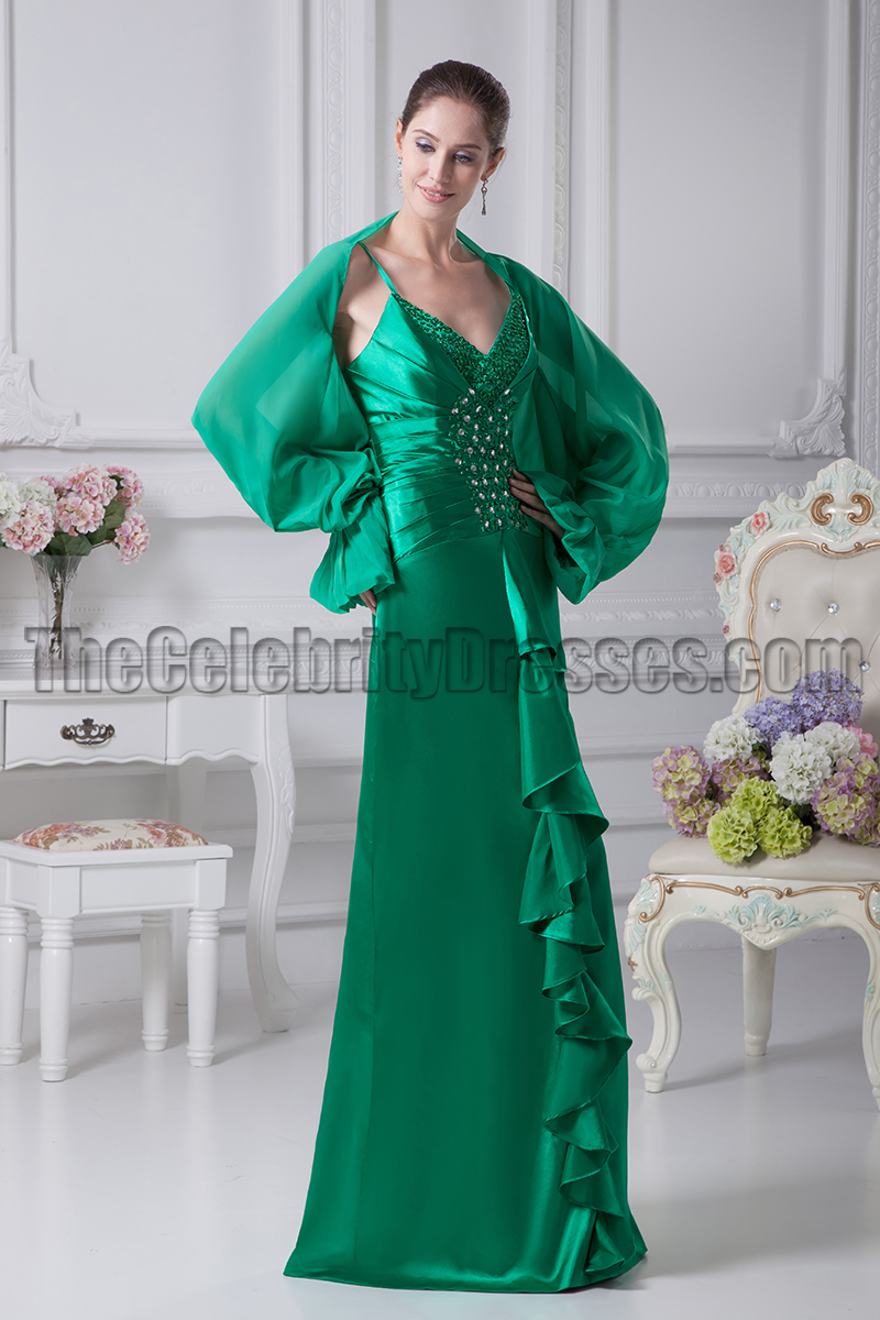 Green V-Neck Beaded Evening Gown Prom Dresses - TheCelebrityDresses