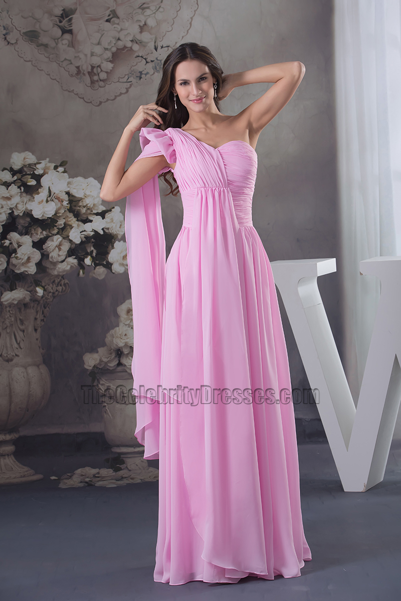 Hot Pink One Shoulder Chiffon Prom Dress Evening Formal Gown ...
