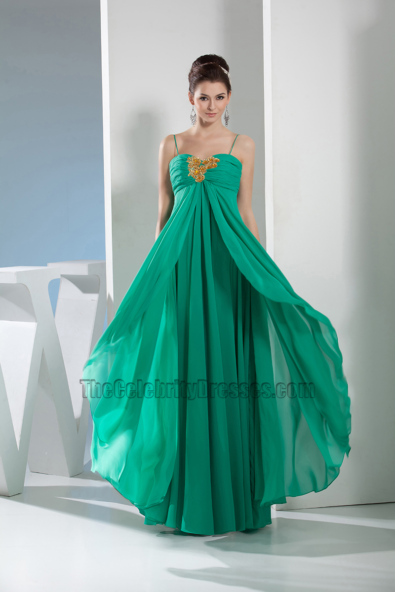 Hunter Chiffon Spaghetti Straps Prom Dress Evening Gown ...