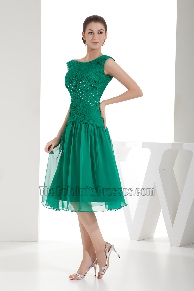 Hunter Chiffon Tea-Length A-Line Cocktail Graduation Dress ...