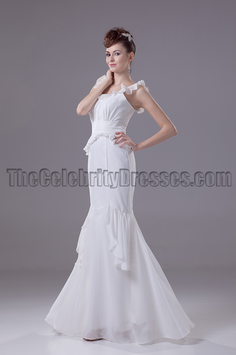 Ivory Mermaid Chiffon Floor Length Prom Evening Dresses ...