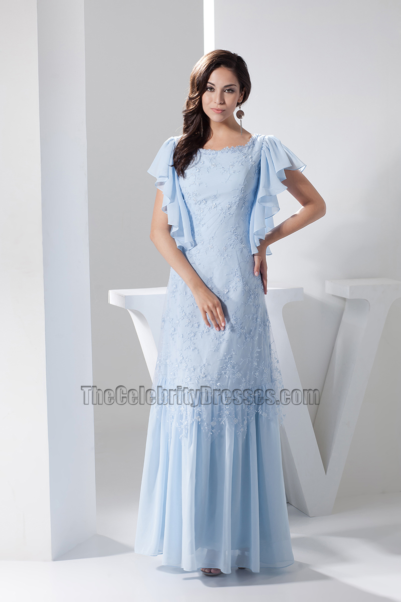 Light Sky Blue Lace Floor Length Prom Gown Evening Dress ...