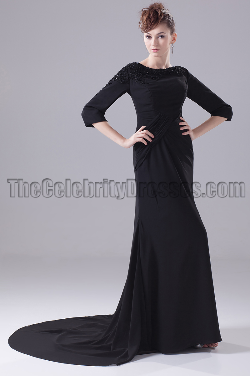 Long Black 3/4 Sleeve Formal Dress Evening Gown - TheCelebrityDresses