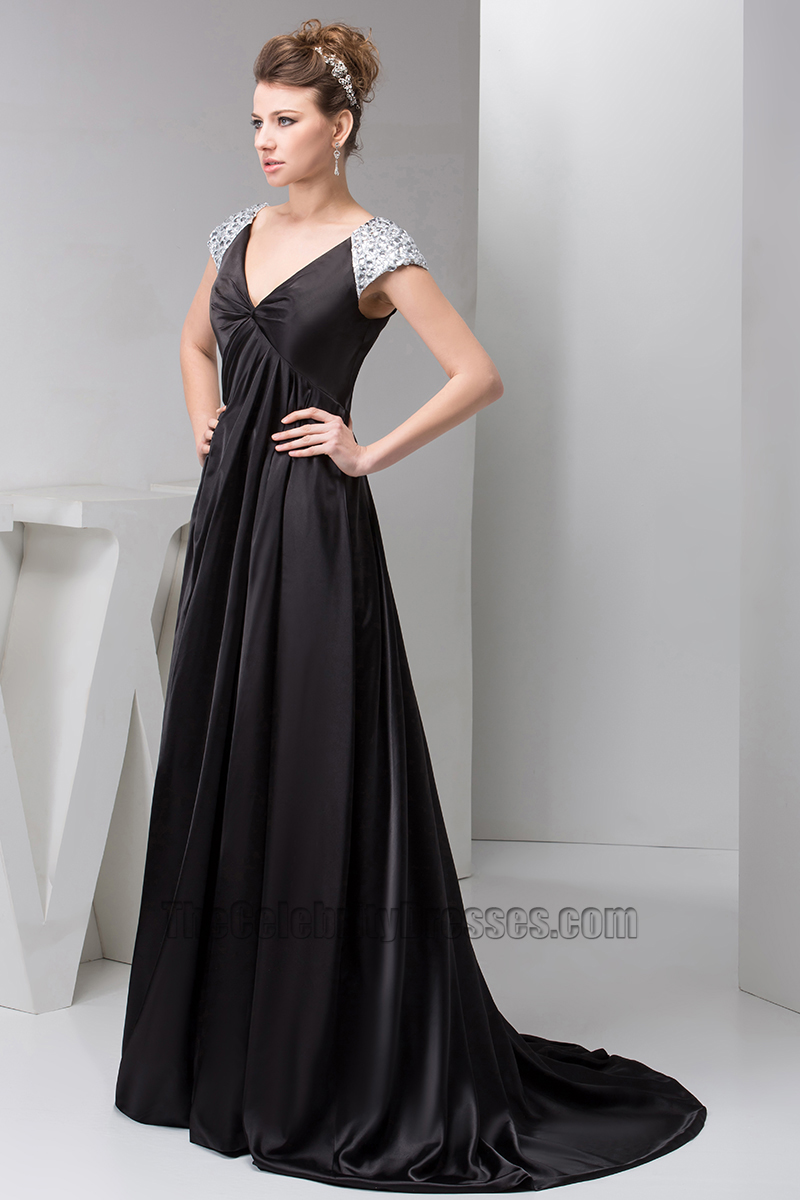 Long Black Cap Sleeves Formal Gown Evening Prom Dresses ...