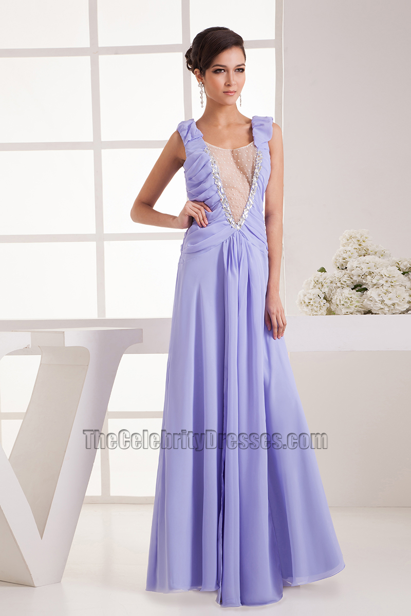 Long Lavender Chiffon Prom Gown Evening Formal Dresses ...
