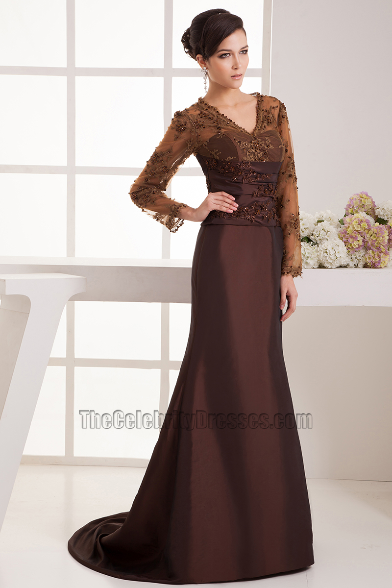 Elegant Brown Long Sleeves Formal Dress Evening Gowns ...