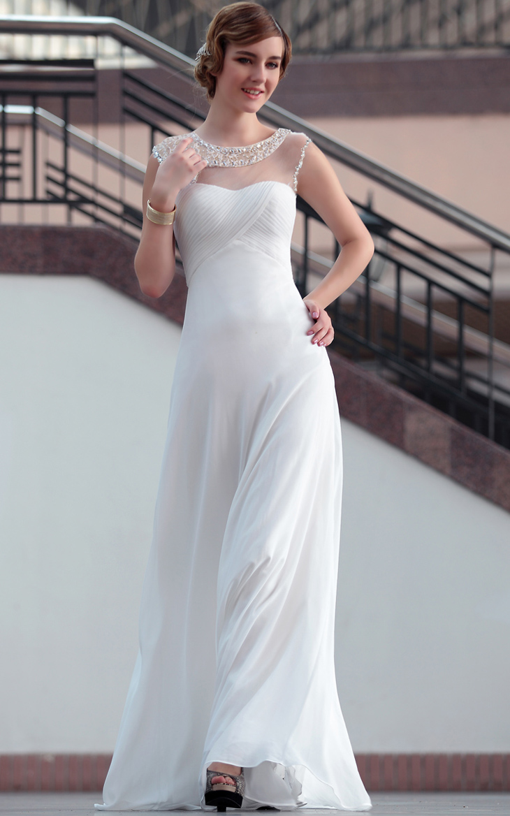 Floor Length White Evening Gowns Prom Formal Dresses