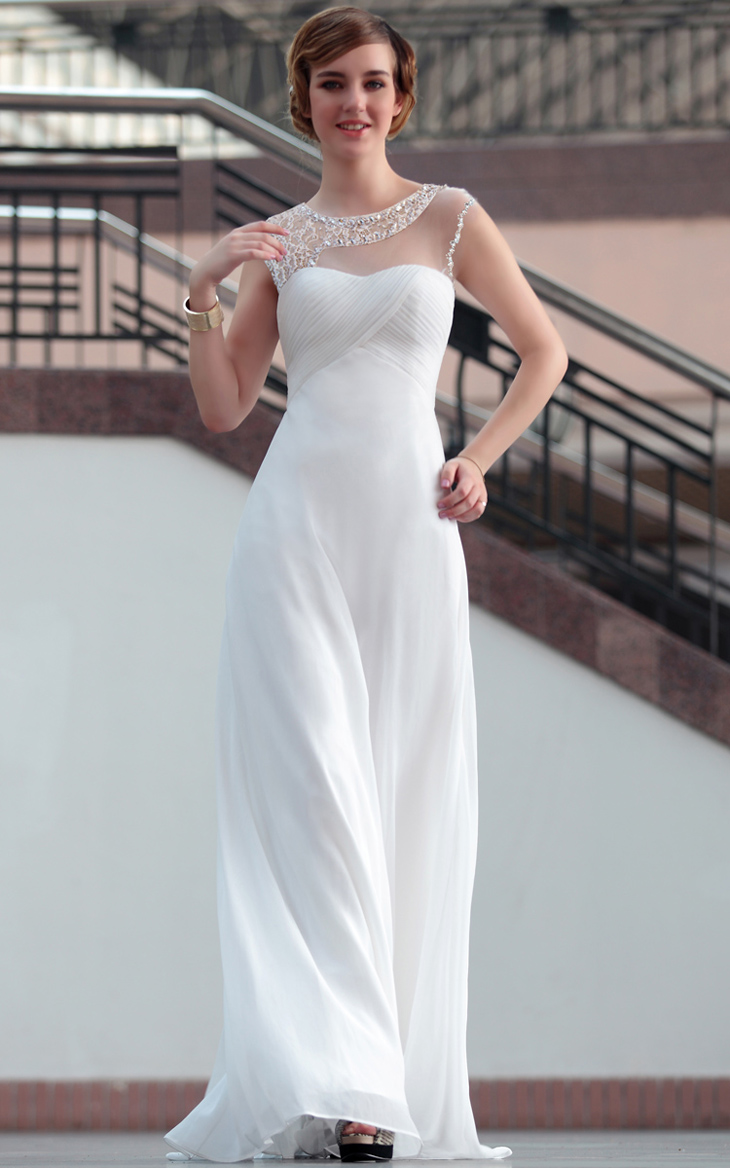 Floor Length White Evening Gowns Prom Formal Dresses ...