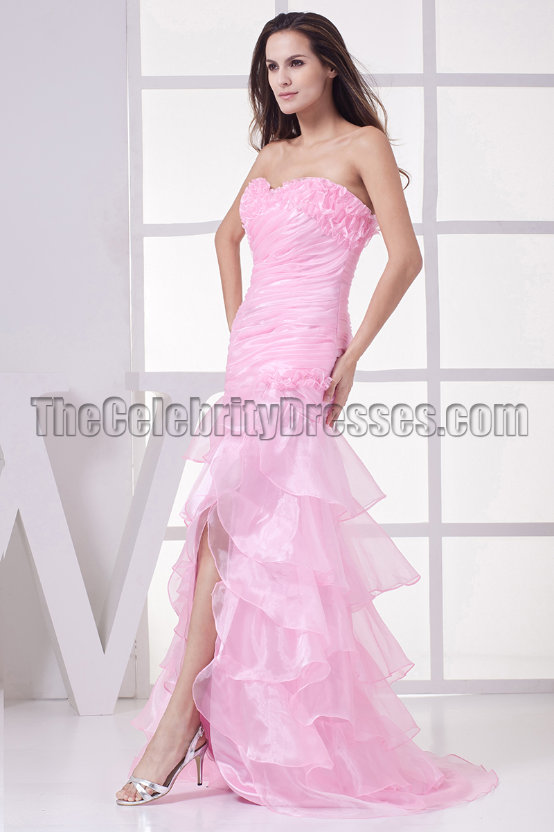 New Style Pink Organza Strapless Formal Dress Prom Gown ...