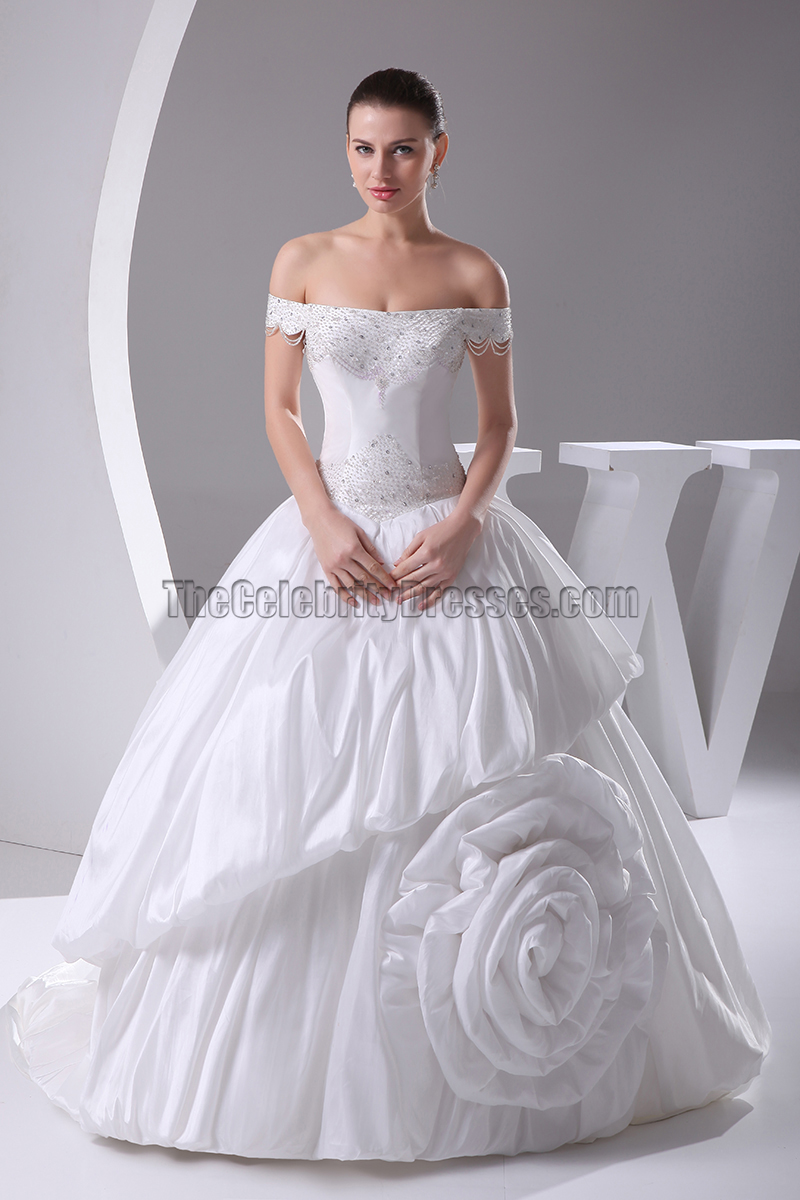 Off-The-Shoulder Taffeta Ball Gown Wedding Dresses - TheCelebrityDresses