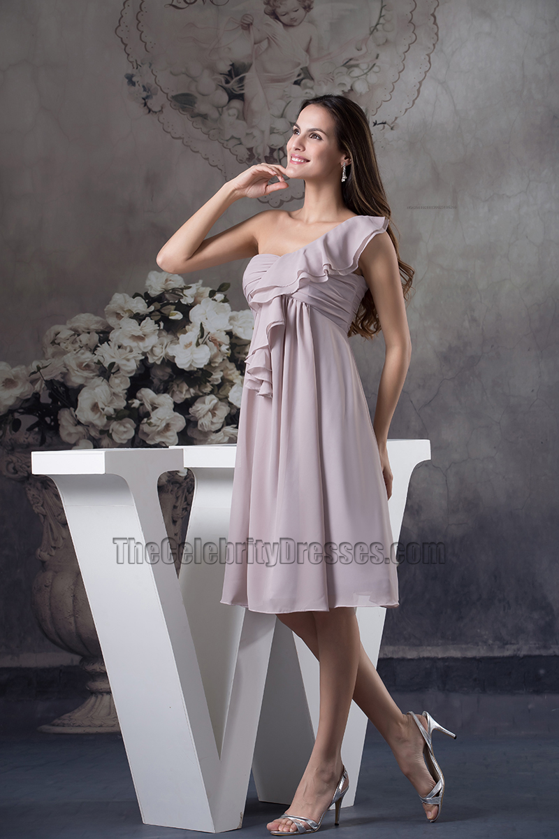 One shoulder chiffon knee length cocktail bridesmaid dresses one shoulder chiffon knee length cocktail bridesmaid dresses thecelebritydresses ombrellifo Gallery