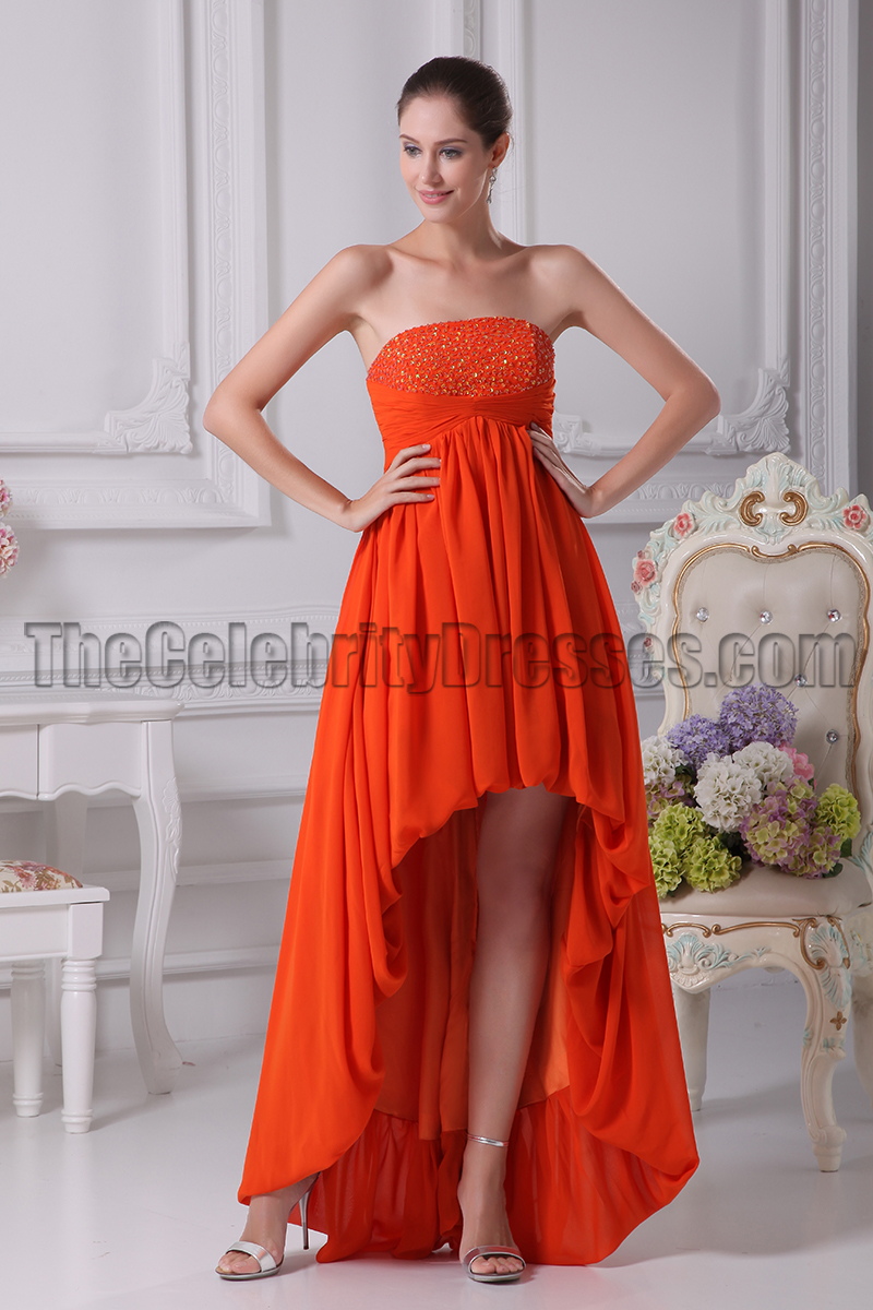 Orange red strapless high low prom gown evening dresses orange red strapless high low prom gown evening dresses thecelebritydresses ombrellifo Choice Image