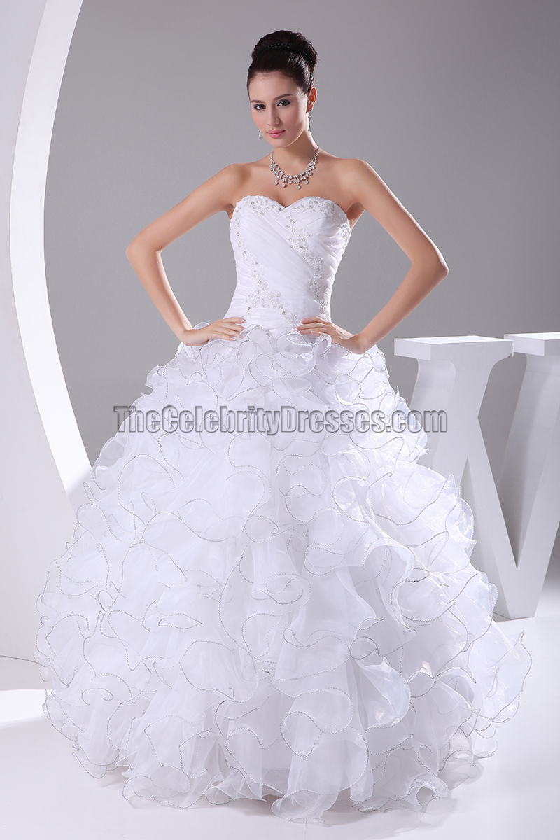 Organza Strapless Sweetheart Ruffled Ball Gown Wedding Dress Thecelebritydresses