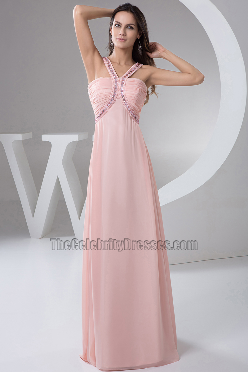 Pearl Pink Chiffon Bridesmaid Formal Dresses With A Wrap ...
