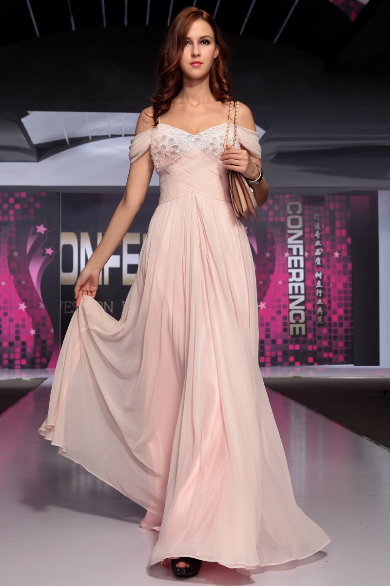Pink Beaded Off-The-Shoulder Chiffon Prom Gown Evening Dress ...