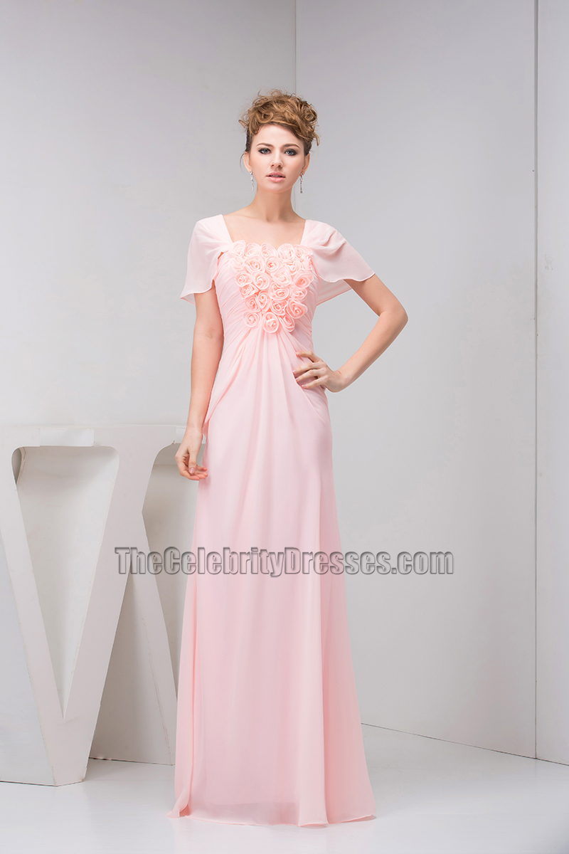 Pink chiffon floor length prom bridesmaid dress with flowers pink chiffon floor length prom bridesmaid dress with flowers thecelebritydresses ombrellifo Image collections