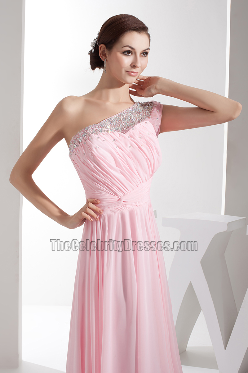 Pink chiffon one shoulder bridesmaid dresses prom gown pink chiffon one shoulder bridesmaid dresses prom gown thecelebritydresses ombrellifo Image collections