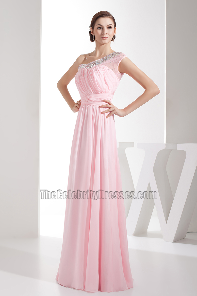 Pink Chiffon One Shoulder Bridesmaid Dresses Prom Gown ...