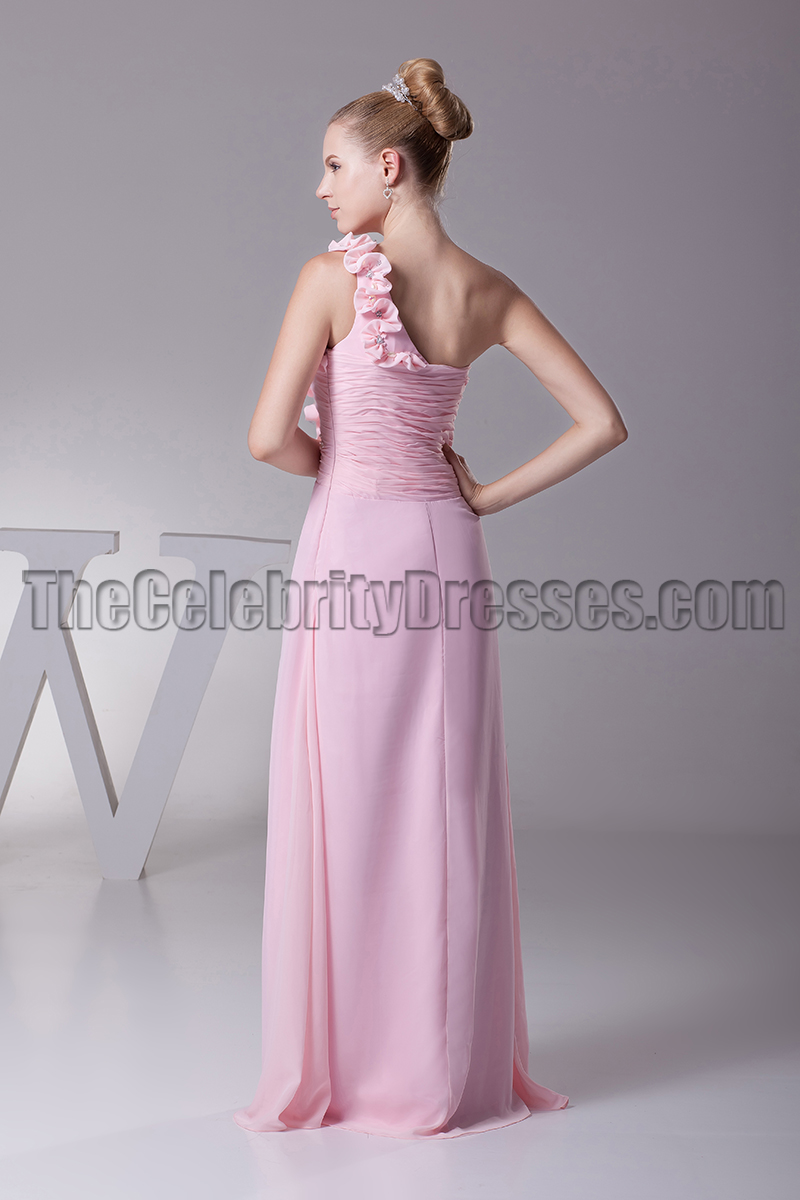 Pink One Shoulder Bridesmaid Dresses Prom Evening Gown ...