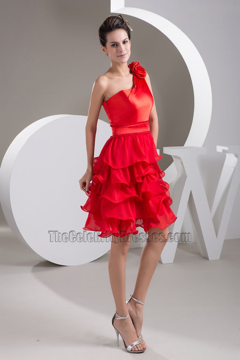 Gorgeous Red One Shoulder Ruffles Cocktail Party Dresses ...
