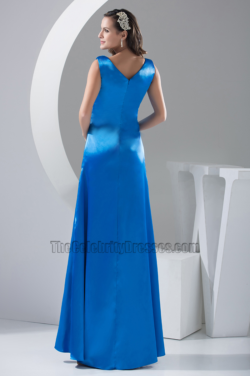 Royal Blue A-Line Full Length Evening Dress Prom Gown ...