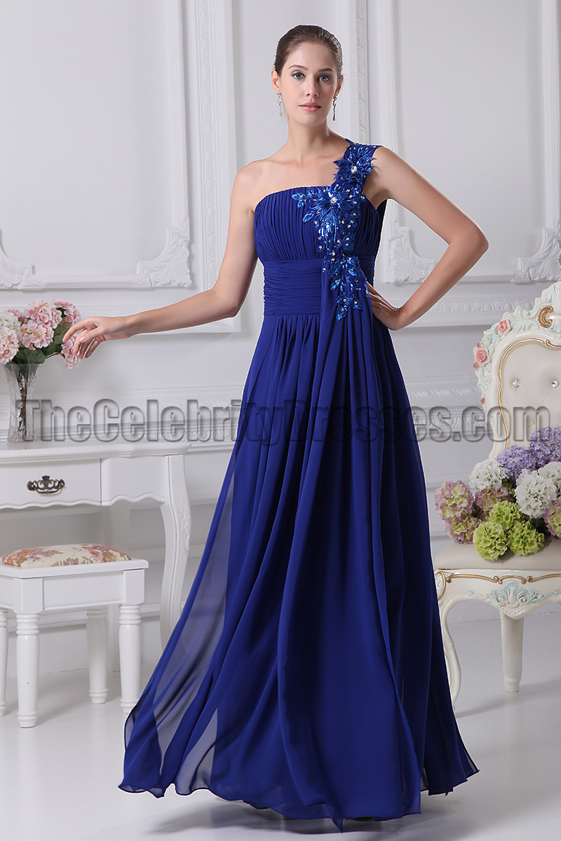 Dark Royal Blue One Shoulder Chiffon Prom Dresses - TheCelebrityDresses