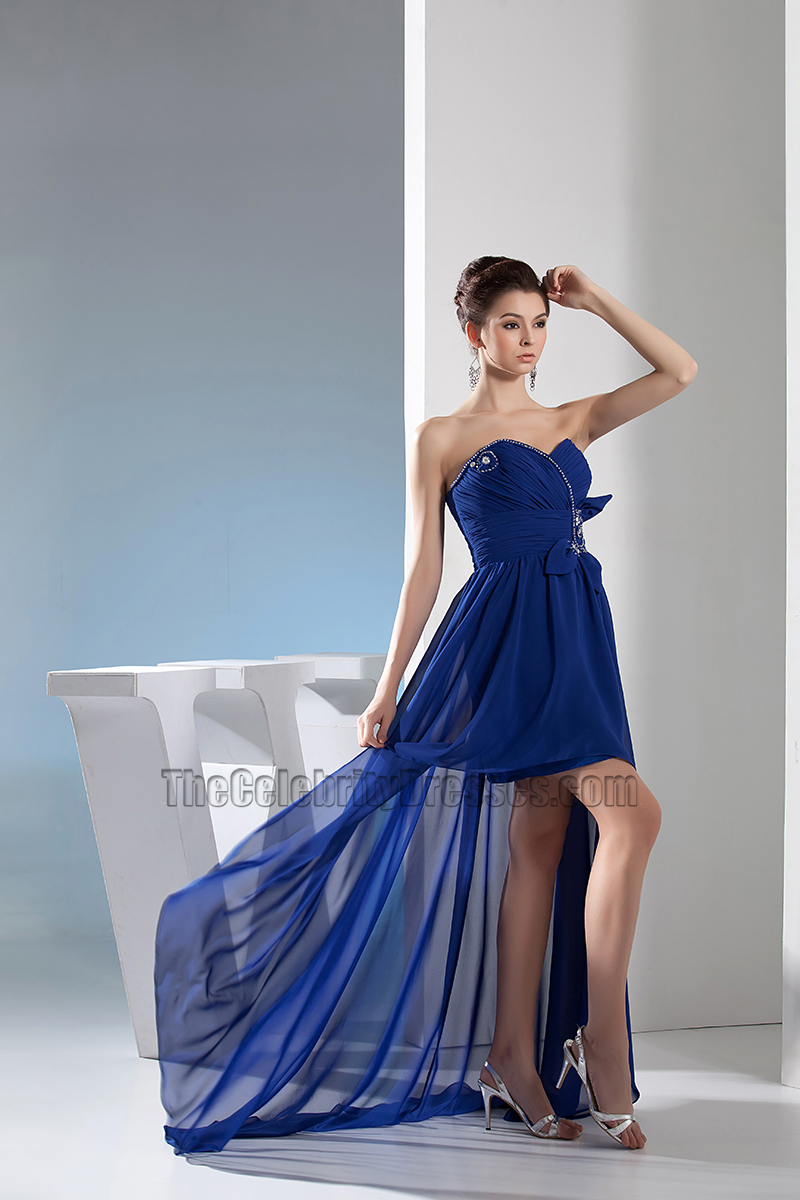 Royal Blue Sweetheart High Low Prom Gown Evening Dress ...