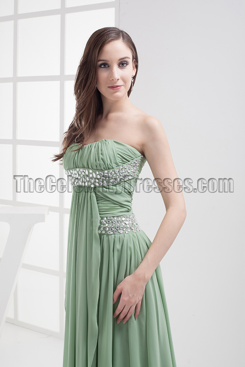 Sage Beaded Strapless Prom Gown Evening Dresses - TheCelebrityDresses