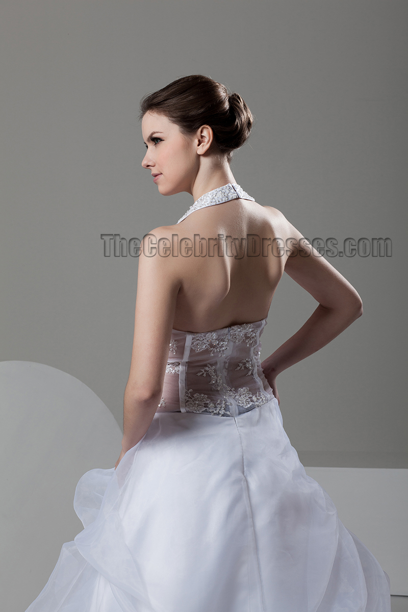 Sexy A-Line Sweetheart Halter See Through Wedding Dress ...