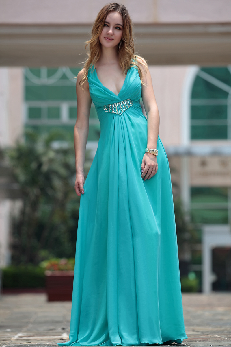 Sexy Blue Beaded V-Neck Bridesmaid Prom Dresses - TheCelebrityDresses