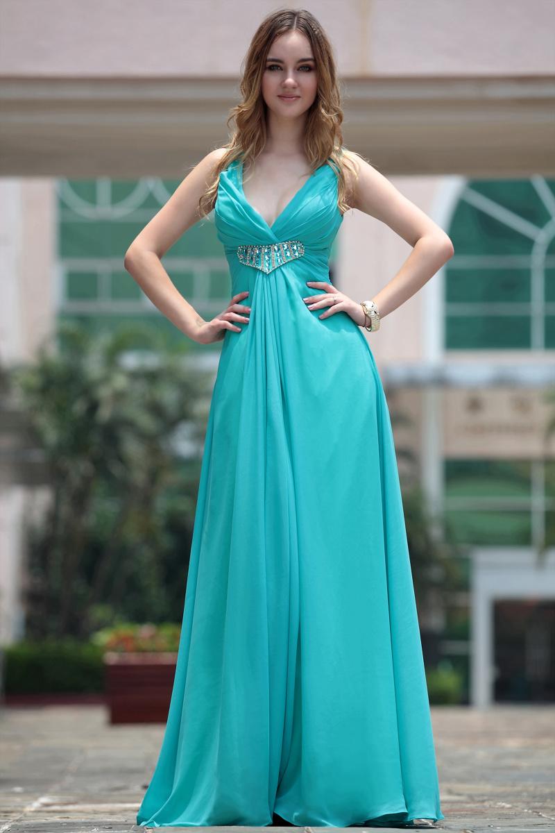 Sexy Blue Beaded V-Neck Bridesmaid Prom Dresses - TheCelebrityDresses