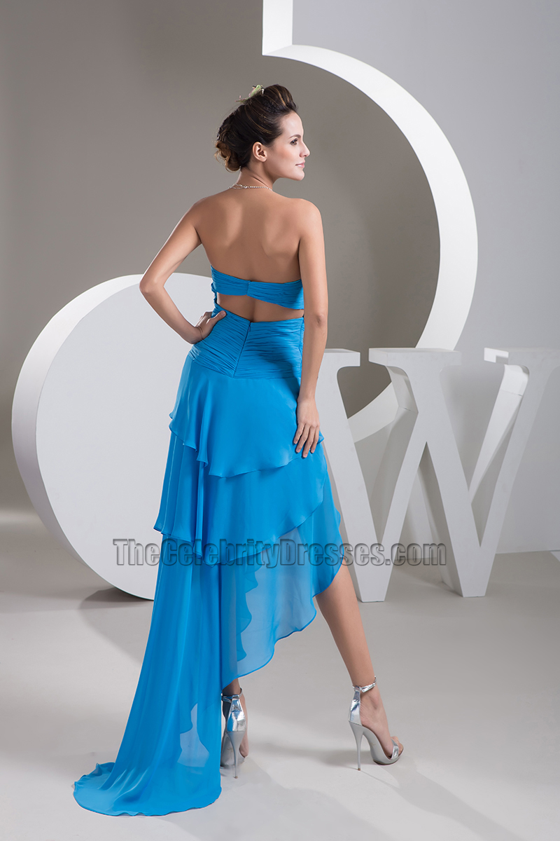 Sexy Blue Strapless Asymmetric Chiffon Prom Gown Evening Dress ...