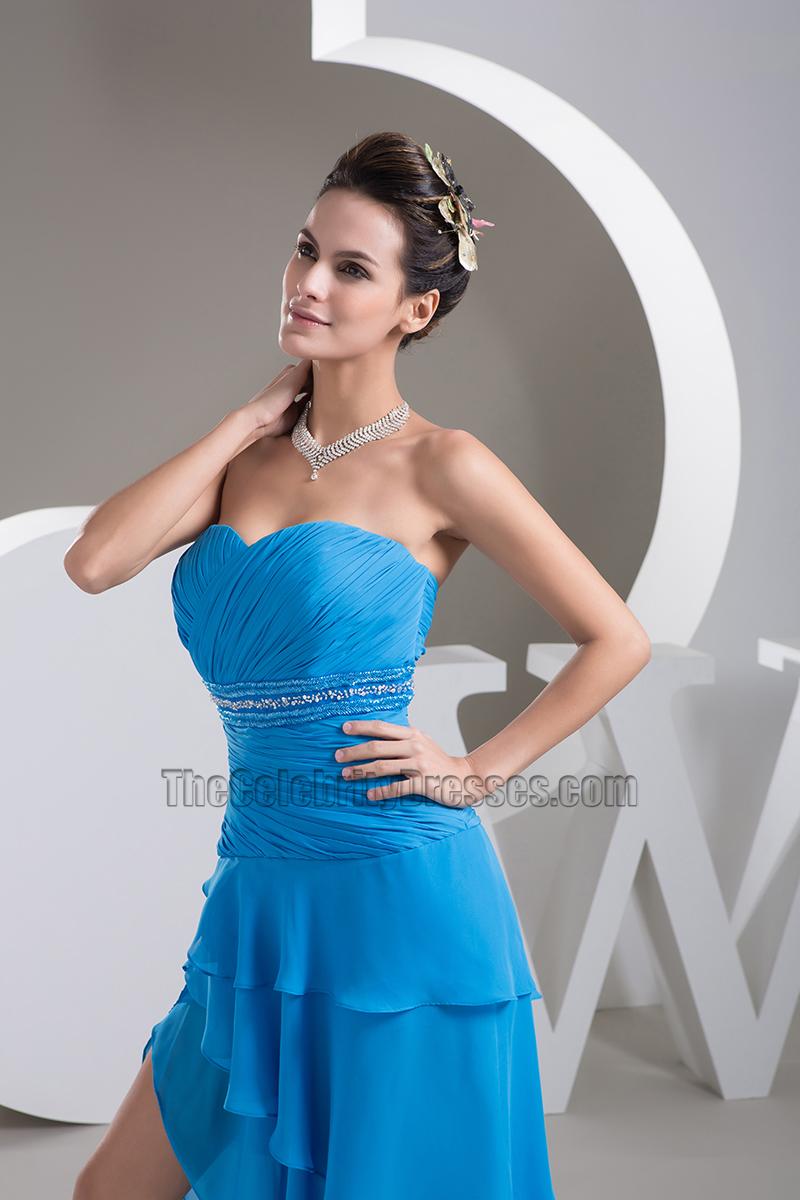 Strapless Asymmetrical Chiffon Dress