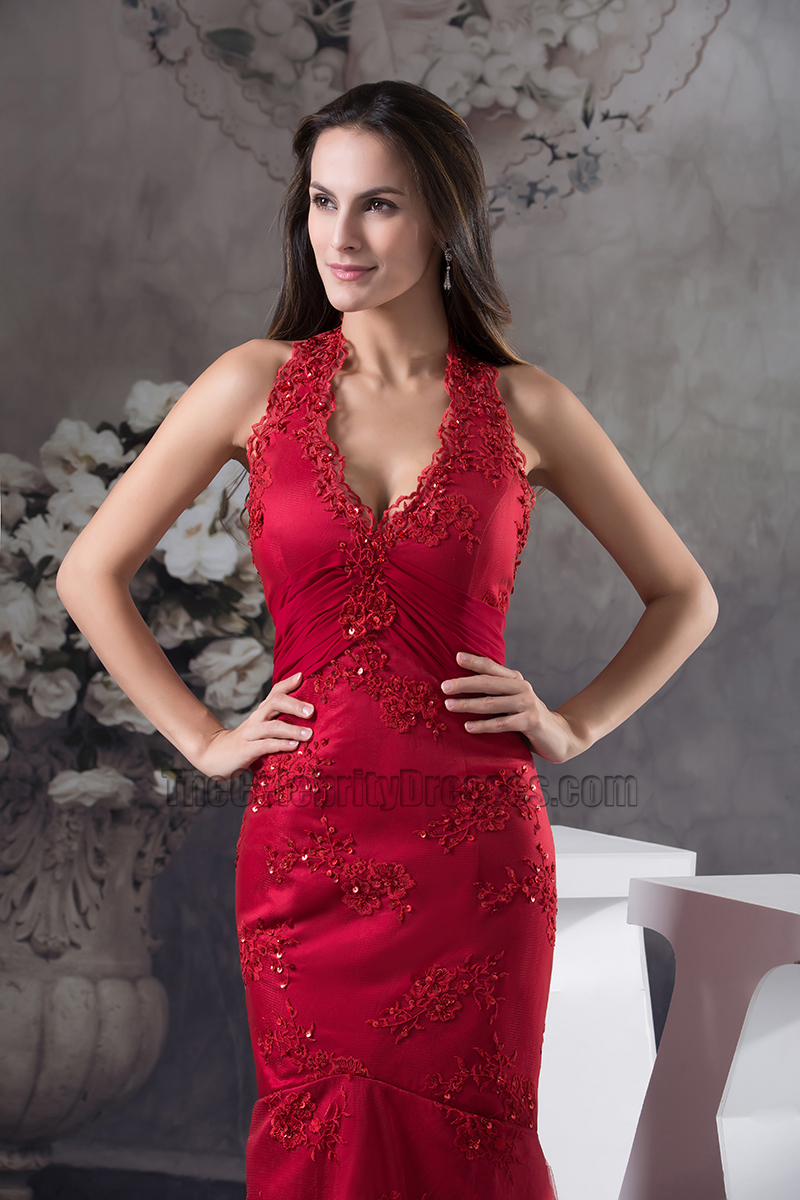 Sexy Burgundy Lace Halter Evening Dress Formal Gown - TheCelebrityDresses