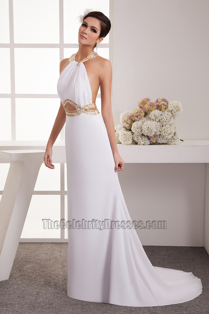 Sexy Cut Out Halter Beaded Informal Wedding Dresses