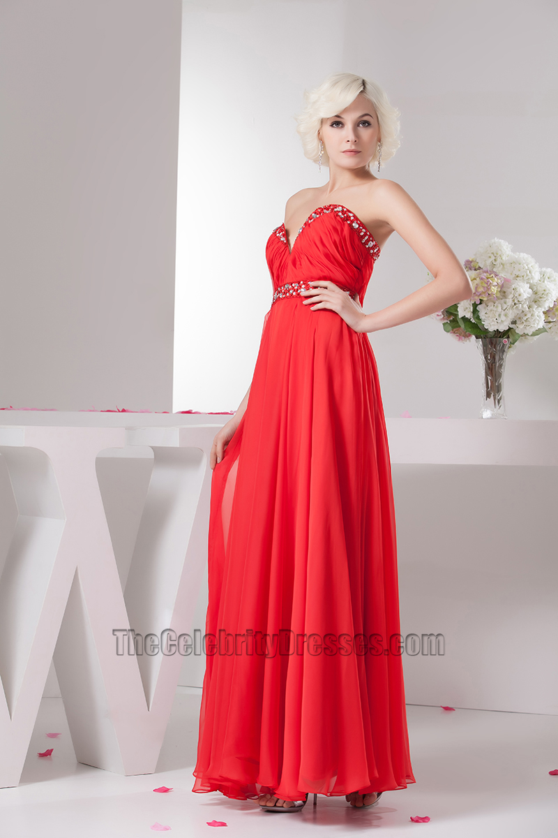 Sexy Red Strapless Beaded Chiffon Prom Gown Evening