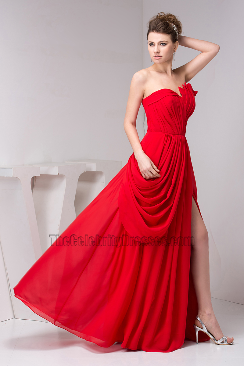 Sexy Red Strapless Prom Gown Evening Prom Dresses - TheCelebrityDresses