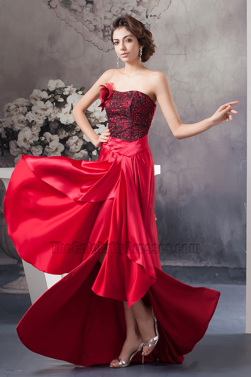 Sexy red strapless high low prom gown evening dresses sexy red strapless high low prom gown evening dresses thecelebritydresses ombrellifo Choice Image