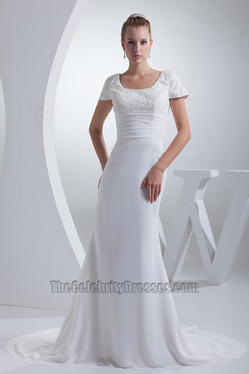 Sheath column cap sleeves chapel train wedding dresses for Sheath wedding dress with cap sleeves